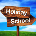 Holiday or School Choice, Rustic Opposite Direction Wooden Sign on Grassland Field